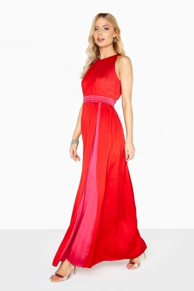Charlotte Colour Block Satin Maxi Dress