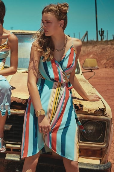 Kelson Cami Wrap Dress In Candy Stripe
