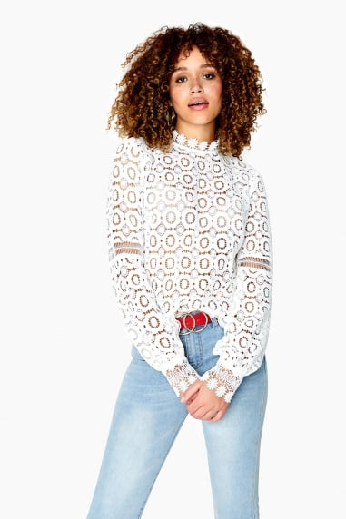 Clark Crochet Lace Mock Neck Top