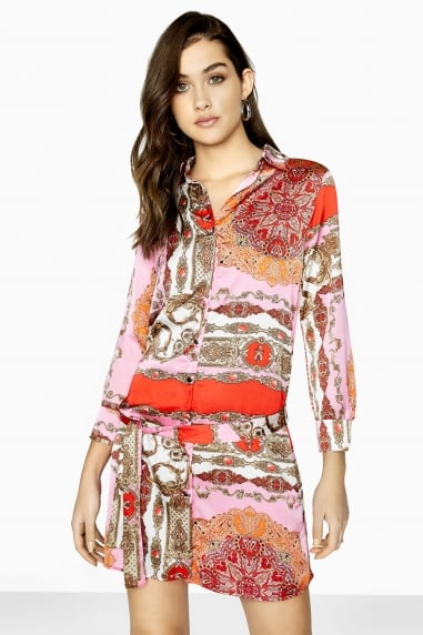 Gamble Chain-Print Shirt Dress