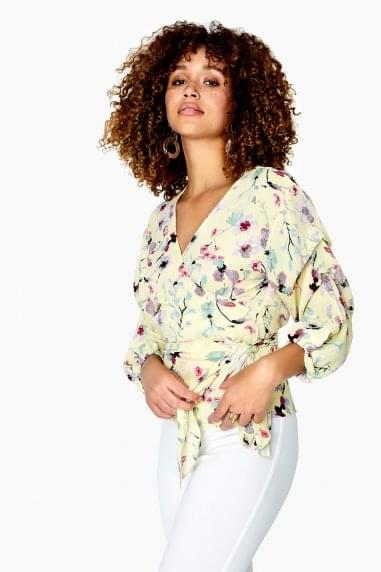 Romy Wrap Top In Floral Meadow