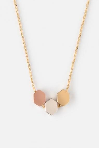 Orelia Hexagon Trio Charm Necklace