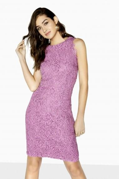 Cornelli Lace Trim Bodycon Midi Dress