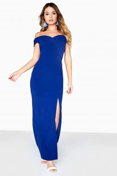 Pose Foldover Bardot Maxi Dress