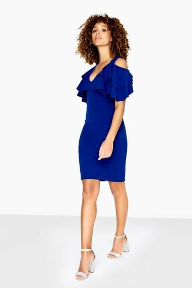 Dean Cold Shoulder Dress With Overlay