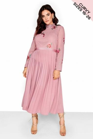 Pink Embroidered Midaxi Dress