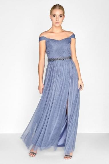 Lavender Grey Jewel Waist Maxi