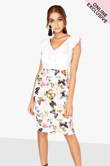 Etienne Frill Front Dress In Butterfly Print