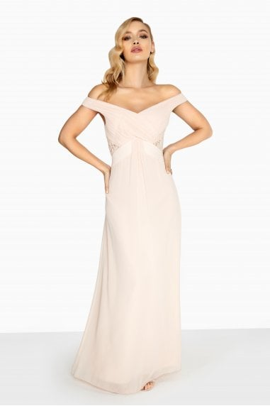 Eleanor Empire Maxi Dress With Drape Front