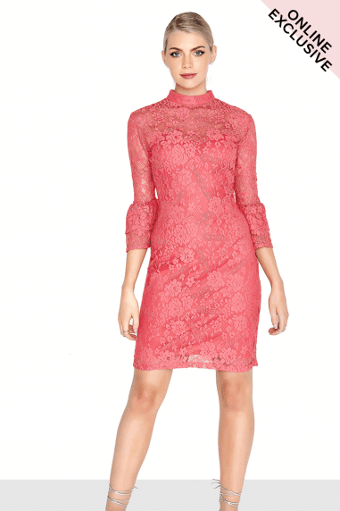 Coral Fluted Dress