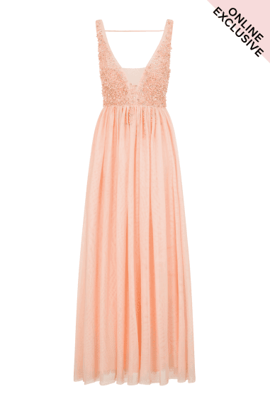 Pink Tulle Maxi Dress