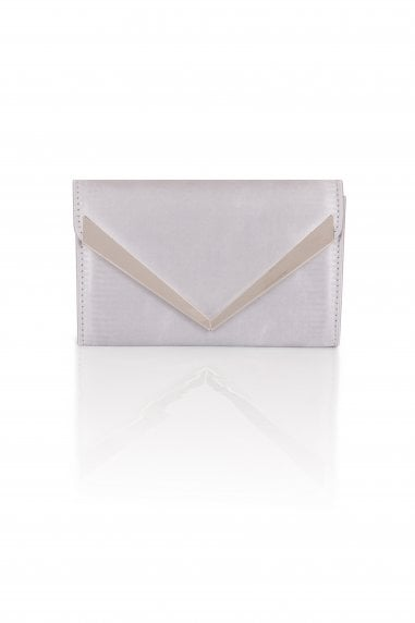 Silver Satin Envelope Clutch