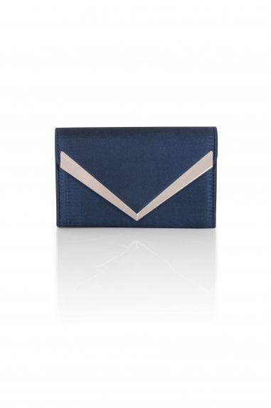 Navy Satin Envelope Clutch