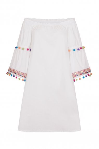 Mustique Pom Pom Sleeve Dress