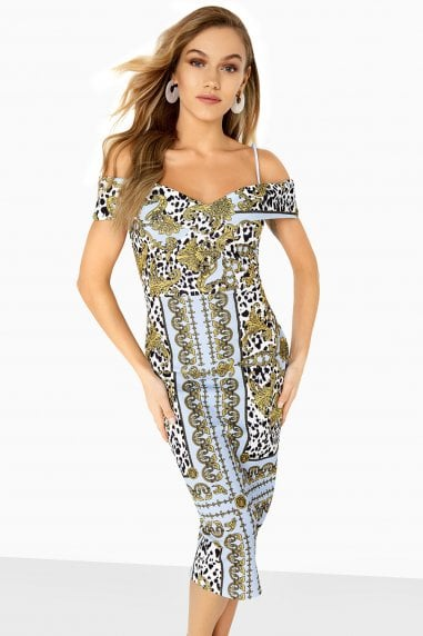 Pose Foldover Bardot Dress In Chain Print