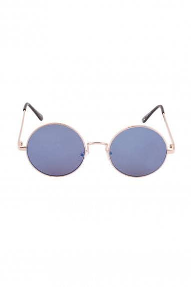 Alek Round Mirror Sunglasses In Blue