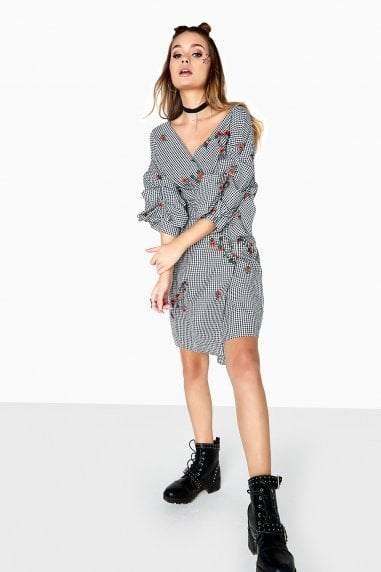 Grant Gingham Embroidered Wrap Dress