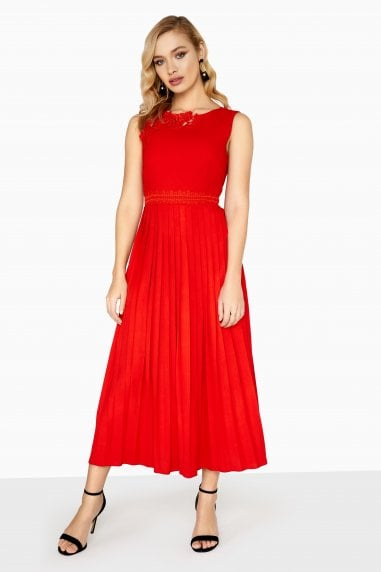 Lottie Applique Dress With Pleated Skirt