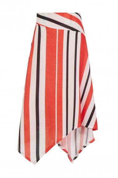 Dallas Hanky Hem Skirt In Multi Stripe