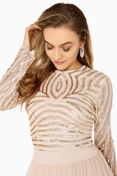 Emma Hand-Embellished Linear Sequin Top Co-Ord