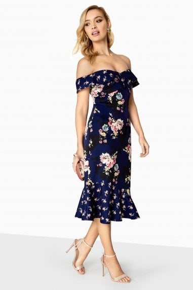 Amber Mixed Floral Bardot Dress With Pephem