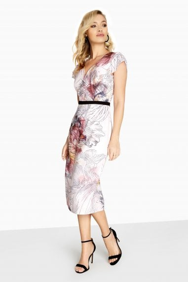 Abigail Line Print Mock Wrap Dress