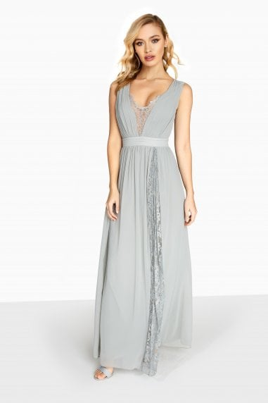Holly Plunge Maxi Dress With Lace Inserts