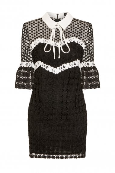Celestial Lace Dress With Collar