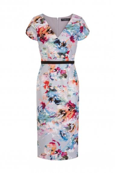 Abigail Floral Blur Mock Wrap Dress