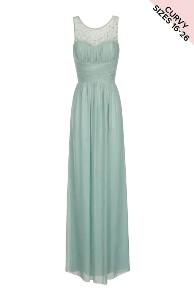 Little Mistress Sage Embellished Mesh Maxi Curve