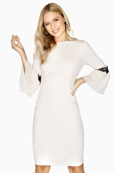Calais Lace Trim Dress With Fluted Sleeves