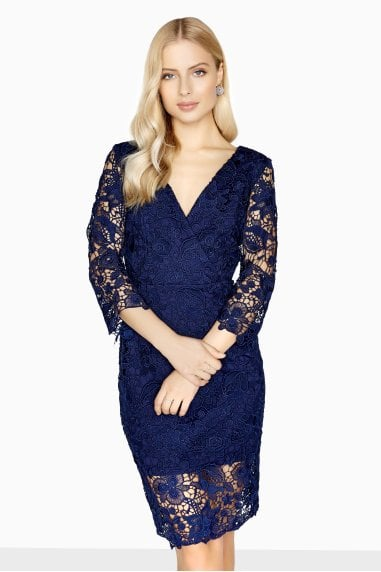 Madeleine V-Neck Dress In Tonal Lace