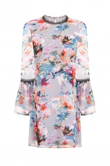 Abigail Floral Blur Shift Dress With Fluted Sleeves