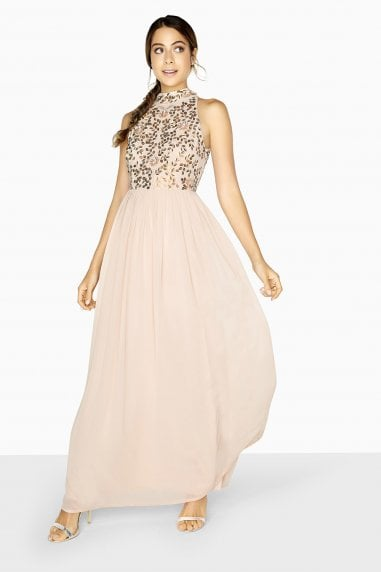 Ellie High Neck Maxi Dress With Hand-Embellishment