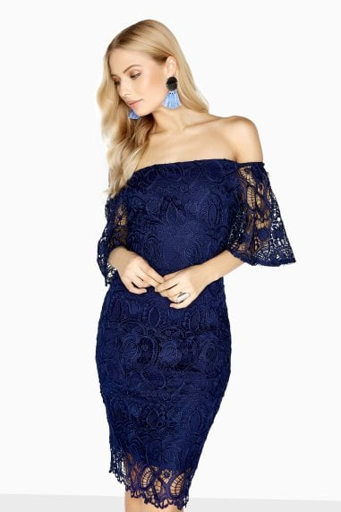 Cambrais Off The Shoulder Lace Dress