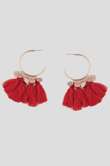 Red Hoop Tassel Earrings