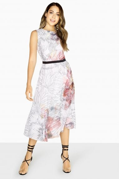 Abigail Line Print Midi Dress