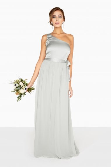 Pearl One Shoulder Satin Top Maxi Dress