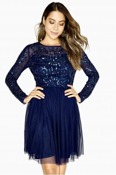Eliza Navy Hand-Embellished Prom Dress