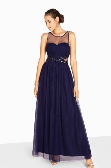 Katie Jewel Waist Maxi Prom Dress