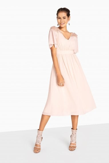 Lacey Angel Sleeve Midi Dress With Pearls