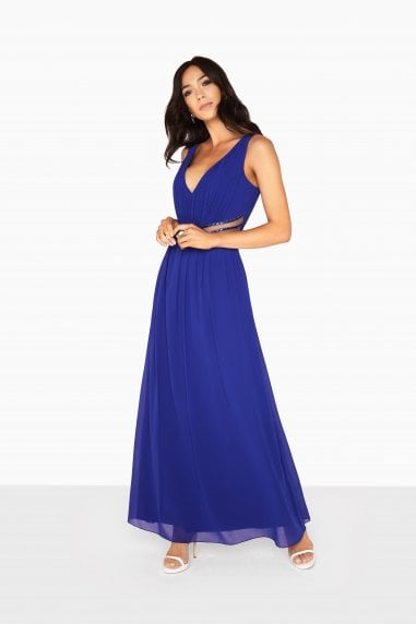 Zoe Plunge Maxi Dress With Jewel Waist