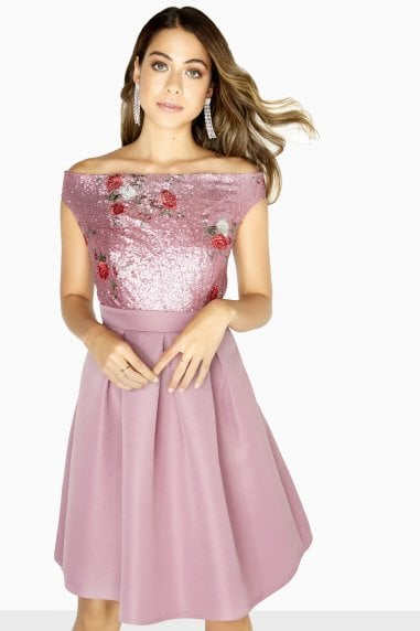 Lexi Embroidered Sequin Top Skater Dress