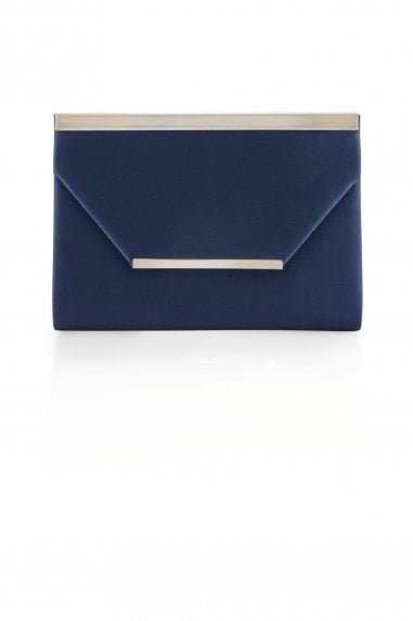 Satin Metal Bar Clutch