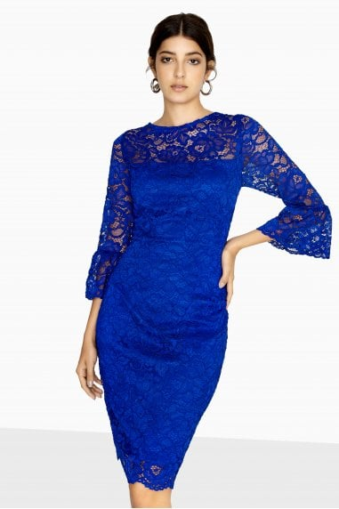 Marlborough Fluted Sleeve Lace Dress