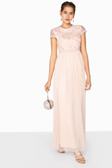 Arabella 3D Floral Mesh Overlay Maxi Dress