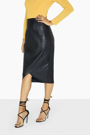 Wrap Front PU Skirt