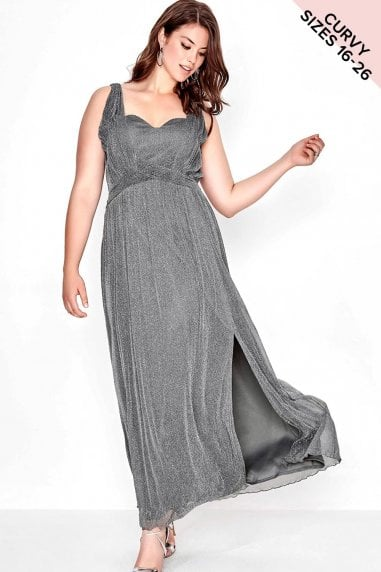 Grey Lurex Maxi Dress
