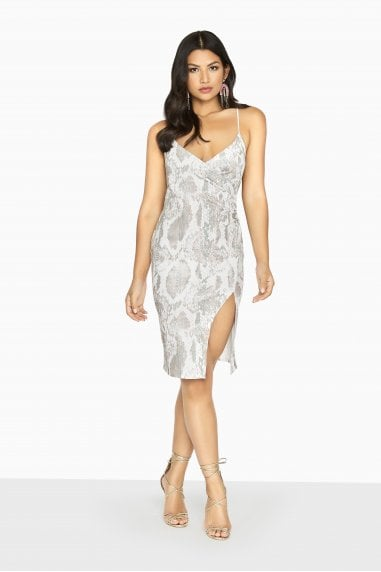 Leon Split Front Dress In Snake