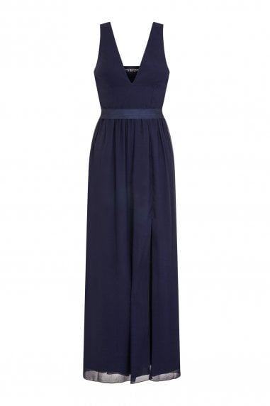 Navy Plunge Maxi Dress With Tie